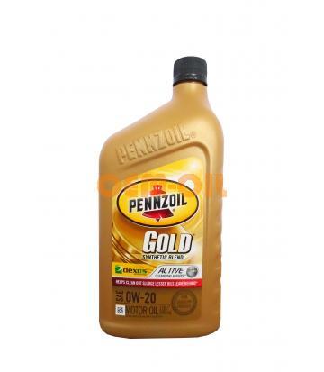 Моторное масло PENNZOIL Gold Synthetic Blend SAE 0W-20 (dexos 1) (0,946л)