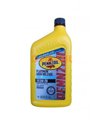Моторное масло PENNZOIL Platinum High Mileage Vehicle Full Synthetic Motor Oil SAE 5W-20 (Pure Plus Technology) (0,946л)
